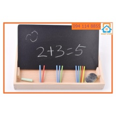 Hình ảnh Bảng Viết phấn bảng đen - Ghép hình nam châm học toán-xem giờ cho trẻ chuẩn bị vào lớp 1 dạng Hộp gỗ thông