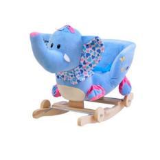 Bập bênh kiêm xe kéo thú bông hình voi xanh