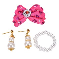 Hình ảnh Barbie Doll Plastic Accessories Jewelry Pearl Necklace Earrings Rose - intl