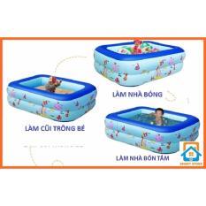 Hình ảnh Bể bơi kiêm Nhà bóng chữ nhật Tặng bơm hơi cho trẻ cao 35cm (120 x 85cm)