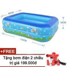 Hình ảnh Bể bơi phao 2 tầng cho bé kèm bơm điện đỏ 2 chiều (115x85x35cm)