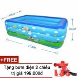 Ôn Tập Bể Phao Bơi Cho Gia Đinh Size Lớn 210X140X63Cm Kem Bơm Điện 2 Chiều