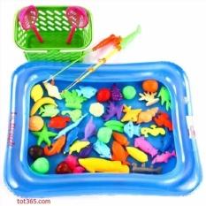 Hình ảnh Bể phao câu cá đồ chơi cho bé kèm bơm tay 2 cần thông minh