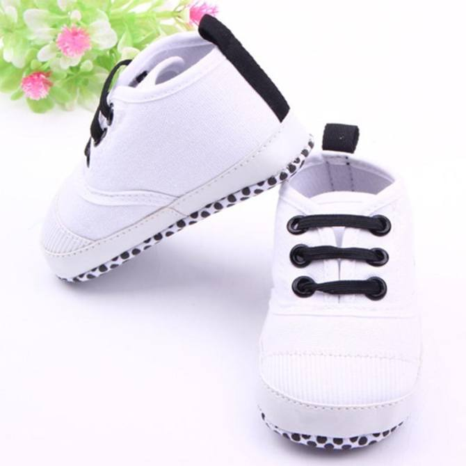 Bellamall:Cool Baby Shoes Baby Infant Newborn Prewalker Flats Soft Antiskid Lace Up Sneaker Crib Shoes - intl