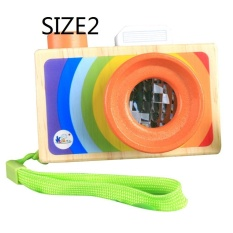 Hình ảnh Bestprice Novelty Funny Toys Wooden Camera Toys Prop Kids Kaleidoscope Neck Hanging Room Decoration - intl