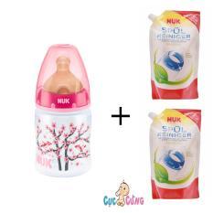 Ôn Tập Binh Sữa Nuk Nhựa Cổ Rộng 150Ml Ty Cao Su Hồng 2 Bịch Nước Rửa Binh Sữa Nuk Bịch 500Ml Nuk Trong Hồ Chí Minh