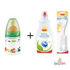 Binh Sữa Nuk Nhựa Cổ Rộng 150Ml Ty Cao Su Xanh La 1 Chai Nước Rửa Binh Sữa Nuk 380Ml Cọ Rửa Binh Sữa Nuk Nuk Chiết Khấu