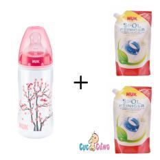 Ôn Tập Binh Sữa Nuk Nhựa Cổ Rộng 300Ml Silicone Hồng 2 Bịch Nước Rửa Binh Sữa Nuk Bịch 500Ml Nuk