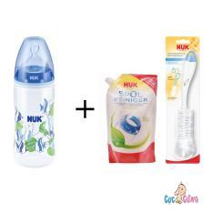 Mua Binh Sữa Nuk Nhựa Cổ Rộng 300Ml Silicone Xanh Dương 1 Bịch Nước Rửa Binh Sữa Nuk Bịch 500Ml Cọ Rửa Binh Sữa Nuk Nuk