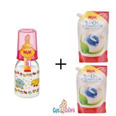 Mã Khuyến Mại Binh Sữa Nuk Nhựa Ty Cao Su Cổ Thường 110Ml Hồng 2 Bịch Nước Rửa Binh Sữa Nuk Bịch 500Ml Rẻ