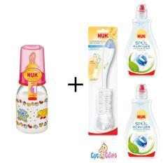 Bán Binh Sữa Nuk Nhựa Ty Cao Su Cổ Thường 110Ml Hồng 2 Chai Nước Rửa Binh Sữa Nuk 380Ml Cọ Rửa Binh Sữa Nuk Người Bán Sỉ