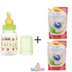Binh Sữa Nuk Nhựa Ty Cao Su Cổ Thường 110Ml Xanh La 2 Bịch Nước Rửa Binh Sữa Nuk Bịch 500Ml Nuk Chiết Khấu 40
