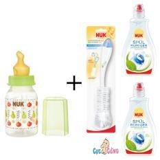 Chiết Khấu Binh Sữa Nuk Nhựa Ty Cao Su Cổ Thường 110Ml Xanh La 2 Chai Nước Rửa Binh Sữa Nuk 380Ml Cọ Rửa Binh Sữa Nuk Nuk