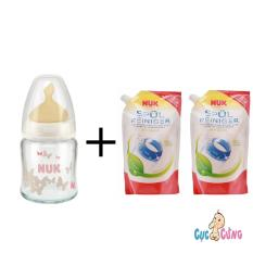Bán Binh Sữa Nuk Thủy Tinh Cổ Rộng 120Ml Ty Cao Su Trắng 2 Bịch Nước Rửa Binh Sữa Nuk Bịch 500Ml Nuk Rẻ