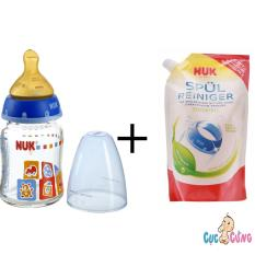 Mã Khuyến Mại Binh Sữa Nuk Thủy Tinh Cổ Rộng 120Ml Ty Cao Su Xanh Dương 1 Bịch Nước Rửa Binh Sữa Nuk Bịch 500Ml Rẻ