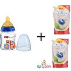 Cửa Hàng Bán Binh Sữa Nuk Thủy Tinh Cổ Rộng 120Ml Ty Cao Su Xanh Dương 2 Bịch Nước Rửa Binh Sữa Nuk Bịch 500Ml