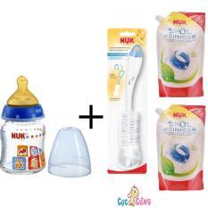 Ôn Tập Cửa Hàng Binh Sữa Nuk Thủy Tinh Cổ Rộng 120Ml Ty Cao Su Xanh Dương 2 Bịch Nước Rửa Binh Sữa Nuk Bịch 500Ml Cọ Rửa Binh Sữa Nuk Trực Tuyến