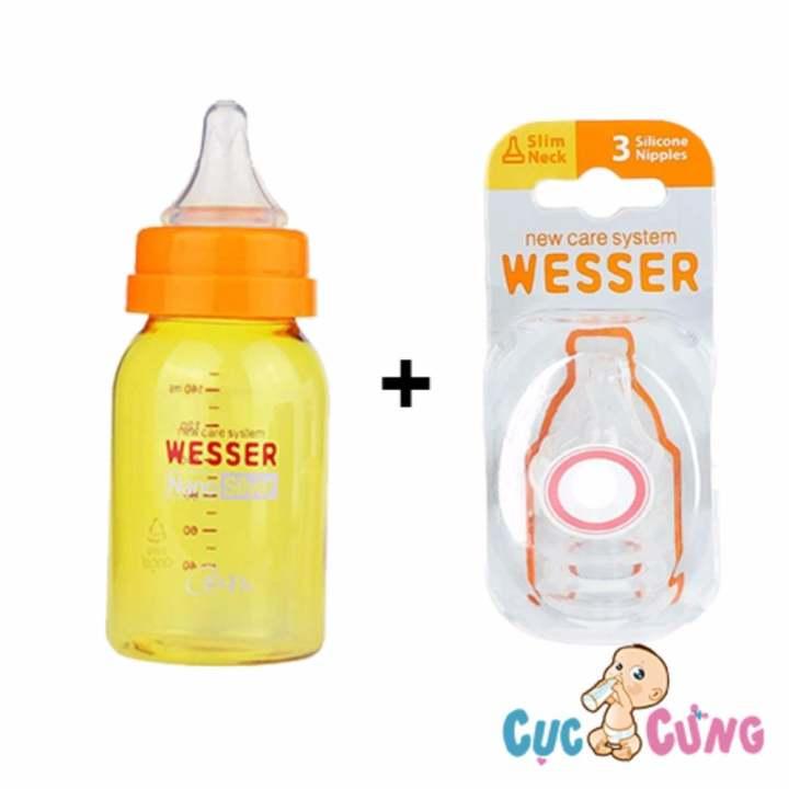 Combo bình sữa wesser nano silver 140ml + vĩ 2...