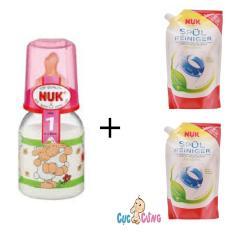 Giá Bán Binh Sữa Nuk Thủy Tinh Cổ Thường 120Ml Ty Cao Su Hồng 2 Bịch Nước Rửa Binh Sữa Nuk Bịch 500Ml Trong Hồ Chí Minh
