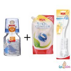 Bán Binh Sữa Nuk Thủy Tinh Cổ Thường 120Ml Ty Cao Su Trắng 1 Bịch Nước Rửa Binh Sữa Nuk Bịch 500Ml Cọ Rửa Binh Sữa Nuk Rẻ Hồ Chí Minh