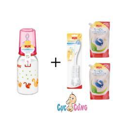 Bán Binh Sữa Nuk Thủy Tinh Cổ Thường 120Ml Ty Silicone Hồng 2 Bịch Nước Rửa Binh Sữa Nuk Bịch 500Ml Cọ Rửa Binh Sữa Nuk Nuk Có Thương Hiệu