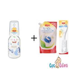 Mã Khuyến Mại Binh Sữa Nuk Thủy Tinh Cổ Thường 120Ml Ty Silicone Trắng 1 Bịch Nước Rửa Binh Sữa Nuk Bịch 500Ml Cọ Rửa Binh Sữa Nuk Hồ Chí Minh