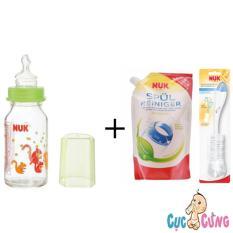 Mã Khuyến Mại Binh Sữa Nuk Thủy Tinh Cổ Thường 120Ml Ty Silicone Xanh 1 Bịch Nước Rửa Binh Sữa Nuk Bịch 500Ml Cọ Rửa Binh Sữa Nuk Trong Hồ Chí Minh