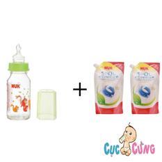 Mua Binh Sữa Nuk Thủy Tinh Cổ Thường 120Ml Ty Silicone Xanh 2 Bịch Nước Rửa Binh Sữa Nuk Bịch 500Ml