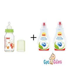 Bán Binh Sữa Nuk Thủy Tinh Cổ Thường 120Ml Ty Silicone Xanh 2 Chai Nước Rửa Binh Sữa Nuk 380Ml Nuk Người Bán Sỉ