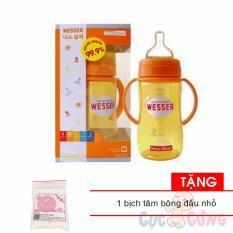 Binh Sữa Wesser Cổ Rộng 320Ml Cong Nghệ Khang Khuẩn Tặng 1 Goi Tăm Bong Đầu Nhỏ Wesser Nano Silver Chiết Khấu