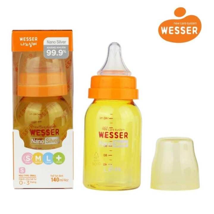 Bình sữa Wesser Nano Silver cổ hẹp 140ml ( Màu...