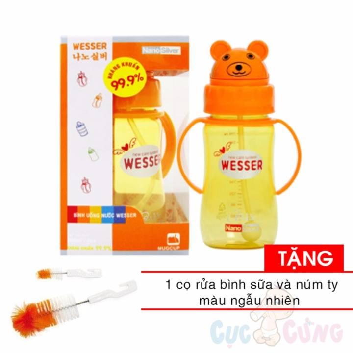 Bình đựng nước có ống hút cho bé uống nước Wesser 260ml hình gấu - Tặng 1 cọ rửa bình sữa