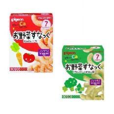 Bộ 1 hộp bánh ăn dặm vị cà rốt cà chua và 1 hộp bánh ăn dặm vị súp lơ rau chân vịt Pigeon 7m+