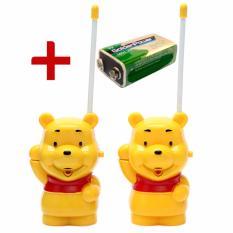 Hình ảnh Bộ 2 bộ đàm hình gấu Pooh tặng kèm Pin vuông cao cấp
