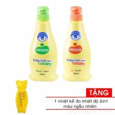 Bộ 2 chai sữa tắm WESSER 500ml (1 xanh lá +1 cam) Tặng nhiệt kế đo nước tắm cho bé 2 trong 1 - màu ngẫu nhiên