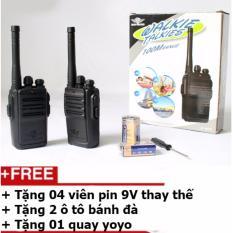 Hình ảnh Bộ 2 chiếc bộ đàm 1 kênh tần số loại 100m + Tặng 4 viên pin 9V + Tặng 2 ô tô bánh đà + Tặng 01 quay yoyo