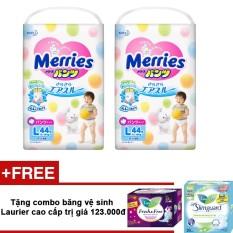 Bộ 2 gói tã quần Merries L44 + tặng combo băng vệ sinh Laurier cao cấp (20 miếng ngày + 08 miếng đêm) trị giá 123.000đ