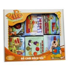 Hình ảnh Set 6 cuốn sách vải Pipo Vietnam( Hình khối, số đếm, CCTV, thời tiết, Sinh vật biển, Cảnh báo nguy hiểm)