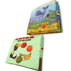 Hình ảnh Bộ 2 sách vải cho bé chơi mà học Pipo - Sinh vật biển và hoa quả màu sắc