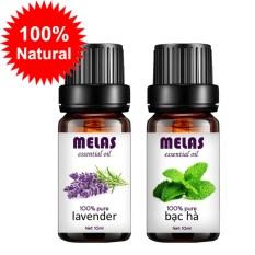 Bộ 2 tinh dầu thiên nhiên MELAS oải hương lavender 10ml và  bạc hà 10ml
