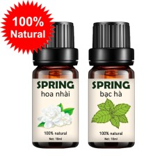 Bộ 2 tinh dầu thiên nhiên SPRING hoa nhài 10ml và  bạc hà 10ml