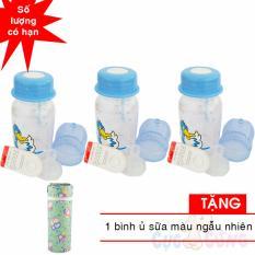 Bộ 3 bình trữ sữa có kèm núm ty và van chống sặc 140ml họa tiết ngẫu nhiên TẶNG 1 ủ bình sữa màu ngẫu nhiên