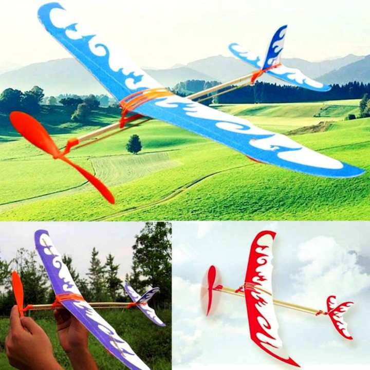 Bộ 3 máy bay 1 tầng cánh tự lắp ráp, bay bằng dây thun (dây chun), thân gỗ, loại cao cấp (màu sắc ngẫu nhiên)