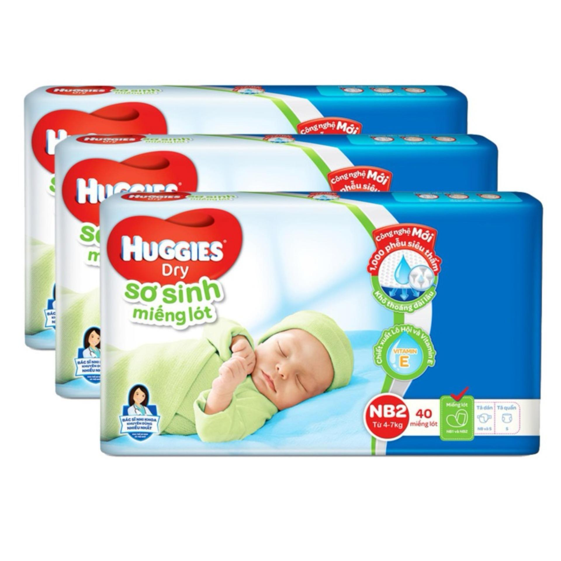 Mua Bộ 3 Miếng Lot Sơ Sinh Huggies Newborn 2 4 7Kg N40 Goi 40 Miếng