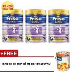 Bộ 3 sữa bột Friso Gold 5 900g  + Tặng bộ đồ chơi gỗ trị giá 150.000VND