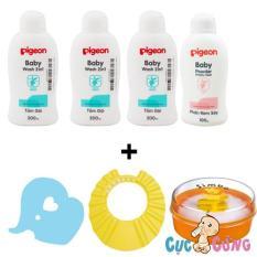 Bộ 3 Sữa tắm gội Pigeon Xanh 200ml + phấn rôm Pigeon 100g + Bông tắm tẩy tế bào chết + Nón tắm cho bé + hộp đựng phấn Simba