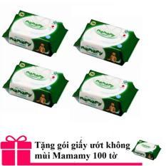 Bán Bộ 4 Goi Giấy Vệ Sinh Khong Mui Mamamy Co Nắp 100 Tờ Tặng 1 Goi Giấy Ướt Mamamy Xanh La Thẫm Người Bán Sỉ