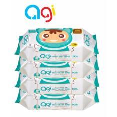 Bộ 4 gói khăn ướt Agi 100 tờ không hương(Xanh hoặc Nâu)