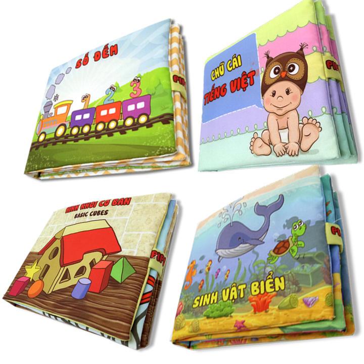Bộ 4 sách vải cho bé chơi mà học Pipo...