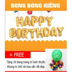 Hình ảnh Bộ bong bóng sinh nhật HAPPY BIRTHDAY (Vàng) có keo dán- Diệp Linh BBSN5